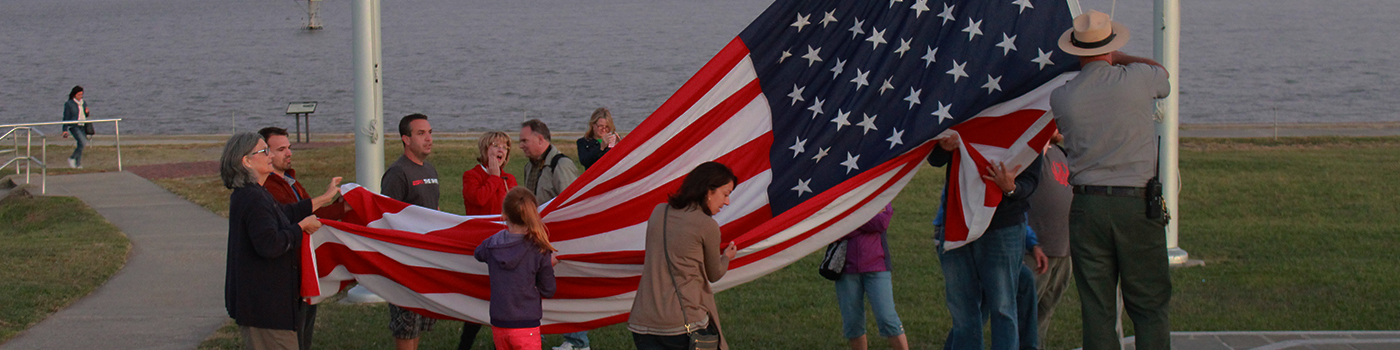 Folding the American flag at Fort Sumter